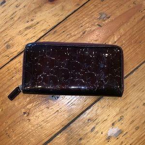 Dior dark purple patent leather zip wallet